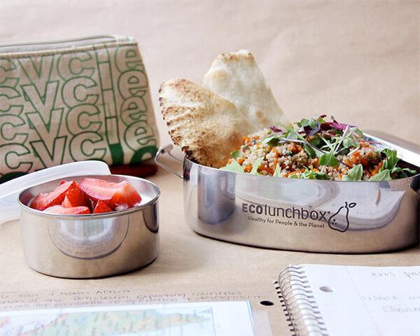 EcoLunchbox RVS set – broodtrommel en lekdicht bakje € 25,95