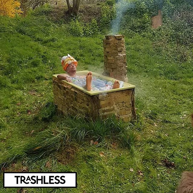 """Photoshoot for """"The naked truth about plastic"""" Calendar!  The bathtub filled with bottles that would not have been there if deposit money was present. Bottles will go like @albertheijn  with their active anti lobby.  Did you know: more than 90% of the want deposit money on small bottles and cans!"""